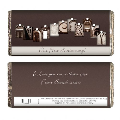 Personalised Affection Art Anniversary Chocolate Bar